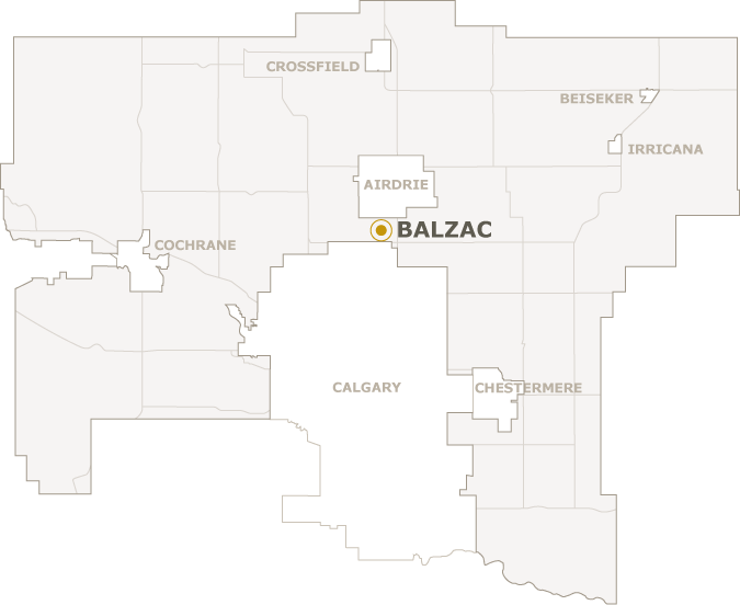 Map of Rocky View County showing where Balzac is located
