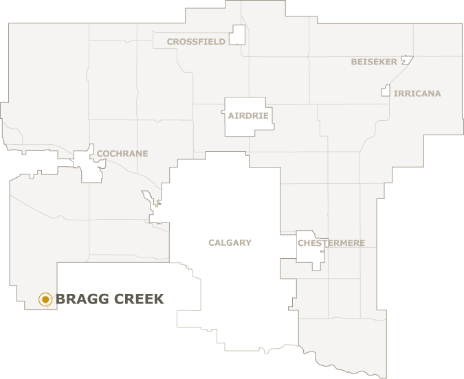Map of Rocky View County showing where Bragg Creek is located
