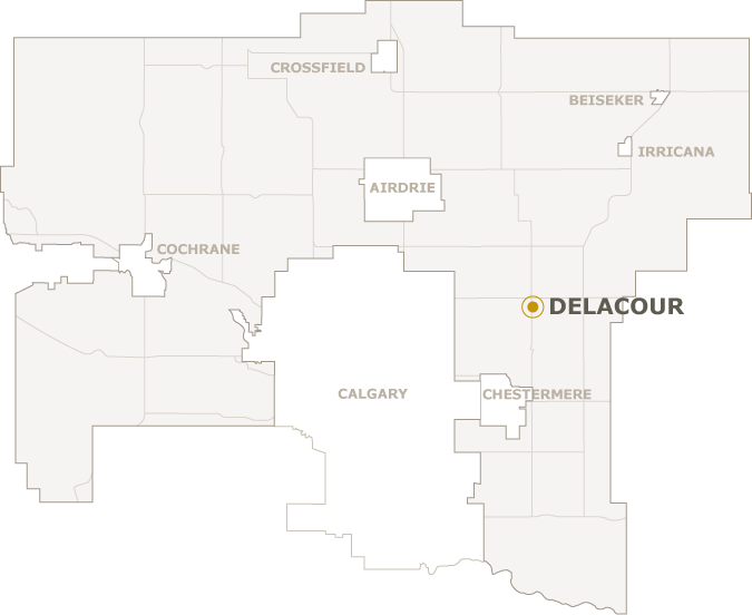 Map of Rocky View County showing where Delacour is located