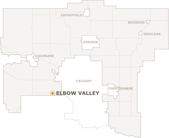 Map of Rocky View County showing where Elbow Valley is located
