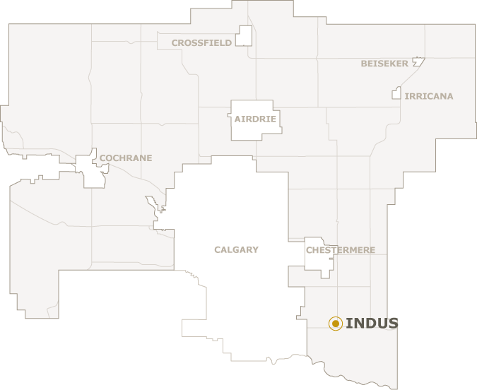 Map of Rocky View County showing where Indus is located