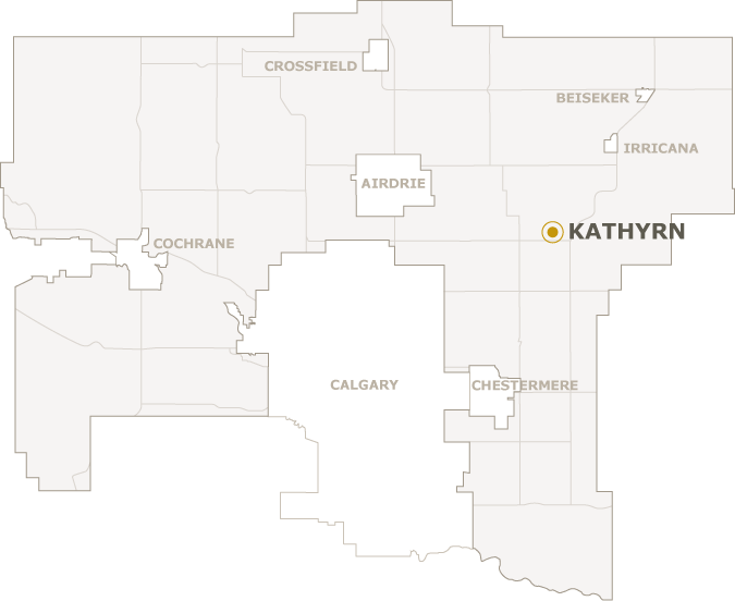 Map of Rocky View County showing where Kathyrn is located